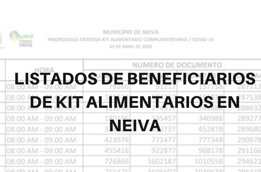 LISTADOS DE BENFICIARIOS DE KIT ALIMENTARIOS EN NEIVA
