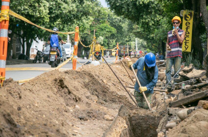 Las ceibas empresas públicas adelanta obras en barrio el vergel de Neiva