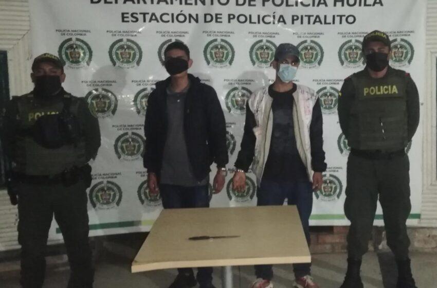 Dos hombres fueron capturados momentos después de cometer un atraco en Pitalito